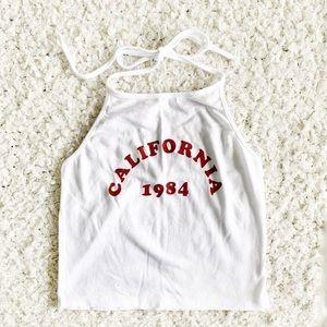 John Galt California 1984 White Halter Top